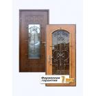 Остекленная металлическая дверь с отделкой МДФ и ламинированной панелью