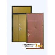 Входная металлическая дверь с фрамугой эконом класса, облицованная винилискожей с обеих сторон