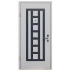 Входная металлическая дверь с отделкой искусственным камнем и винилискожей