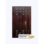 Входная металлическая двустворчатая дверь с отделкой массивом дуба