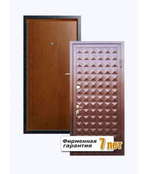 Входная металлическая дверь рифленная с отделкой ламинатом с внутренней стороны и порошковым напылением с внешней
