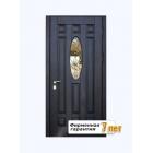 Металлическая дверь со стеклом и декоративной ковкой, облицованная шпонированным МДФ