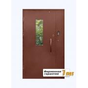 Входная металлическая подъездная дверь со стеклопакетом
