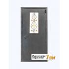 Недорогая порошковая дверь со стеклопакетом и декоративной решеткой