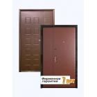 Металлическая двустворчатая дверь для тамбура, отделанная винилискожей и МДФ